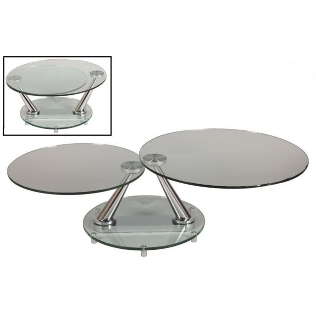 Inside 75 Table basse design Circle ronde double plateaux