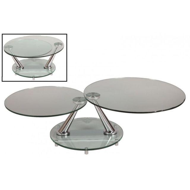 Inside 75 Table basse design Circle ronde double plateaux
