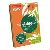 Rey - Ramette papier couleur Adagio couleurs intenses assorties A4 80 gr - 5 x 100 feuilles