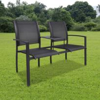 Rocambolesk - Superbe Chaise Double Noire en Textilène neuf