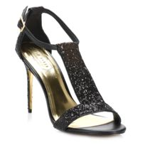 Ted Baker - Womens Black & Gold Pwimwrose Ankle Strap Sandals-UK 7