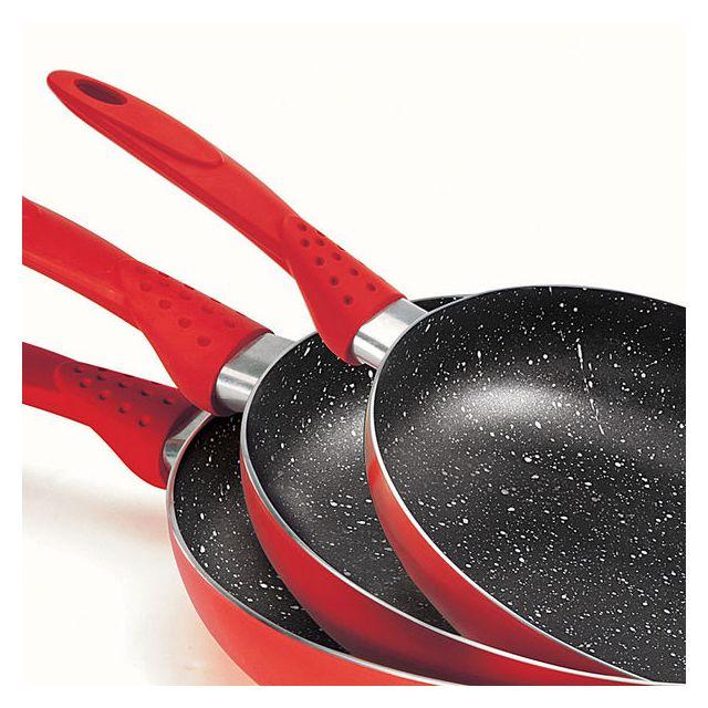 Kitchen Artist - Set de 3 poêles rouges revêtement aspect pierre Men124R