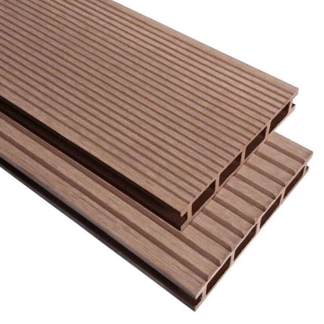 Vidaxl Panneaux de terrasse avec accessoires Wpc 36 m² 2,2 m Marron   Brun
