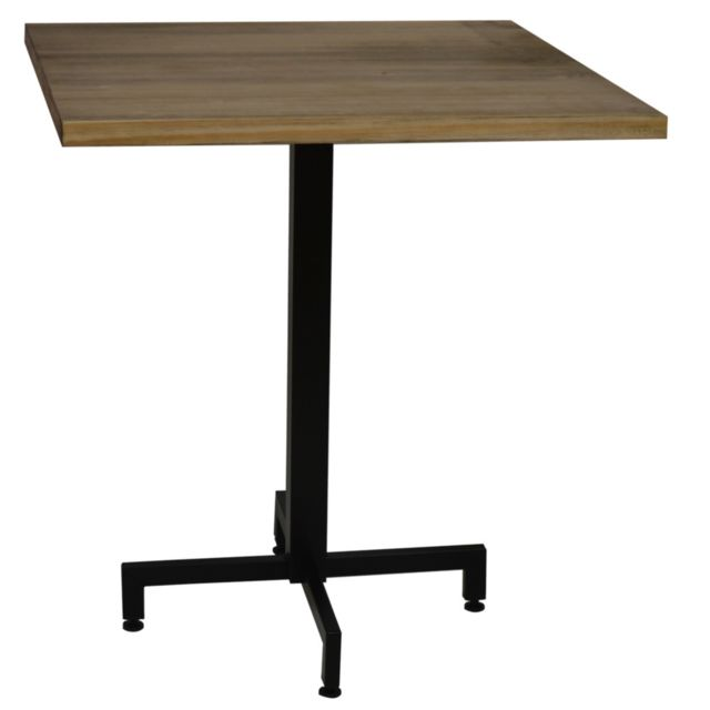 Ds Meubles Table bistrot Icub. De pied central plateau carré - industriel vintage – 60x60x75h. cm - Metal Noir