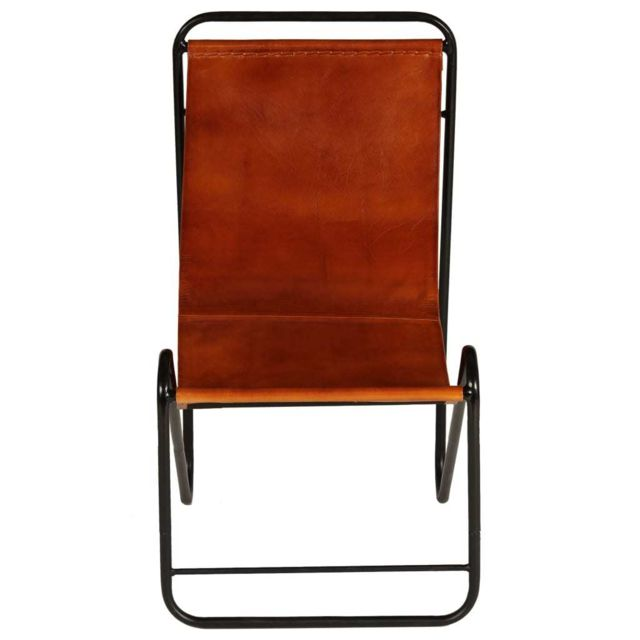 Icaverne Chaises longues collection Chaise de relaxation Cuir véritable 50x78x90 cm Marron