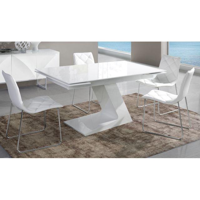 Kasalinea Table de salle à manger extensible blanc laqué design Helga