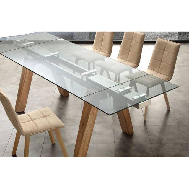 Inside 75 Table repas extensible Caronte en verre