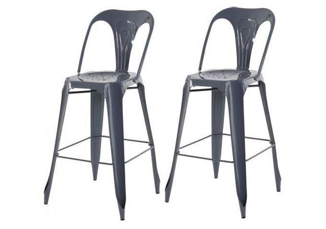 declikdeco lot de 2 tabourets de bar industriels avec dossier gris kirk pas cher achat. Black Bedroom Furniture Sets. Home Design Ideas