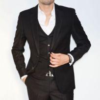 Prestige Man , Costume homme cintré noir Dario 3 pièces
