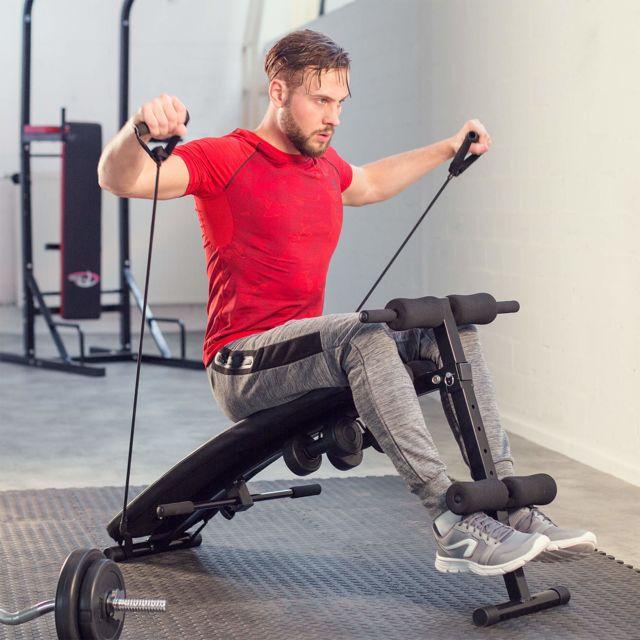 Banc de musculation pliable abdominaux et dorsaux, Banc d'entraînement + 2 Haltères + 2 Cordes d'entraînement