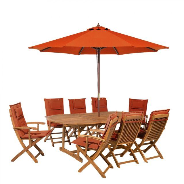 Salon de jardin avec parasol et coussin brique Maui