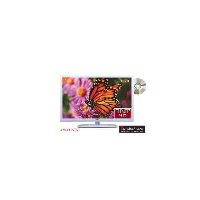 Antarion Télévision TV + DVD LED 19' HD 12V /220V camping car BLANCHE