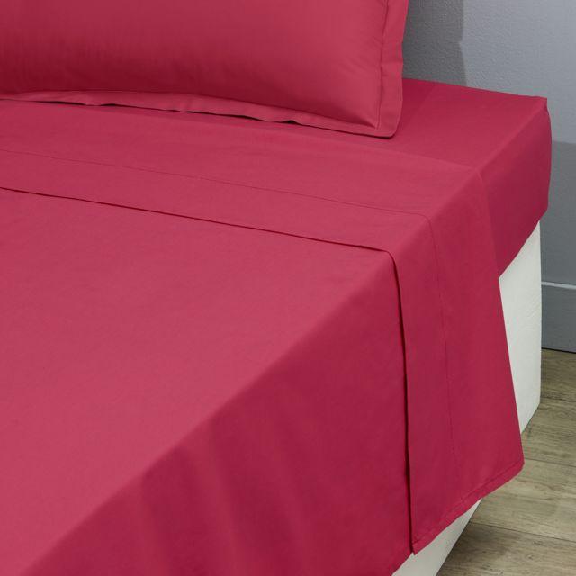 TEX HOME Drap plat en percale, coton durable Drap plat BIO en percale 240x300 cm - fuschia