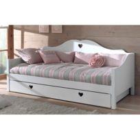 lit banquette blanc achat lit banquette blanc pas cher soldes rueducommerce. Black Bedroom Furniture Sets. Home Design Ideas