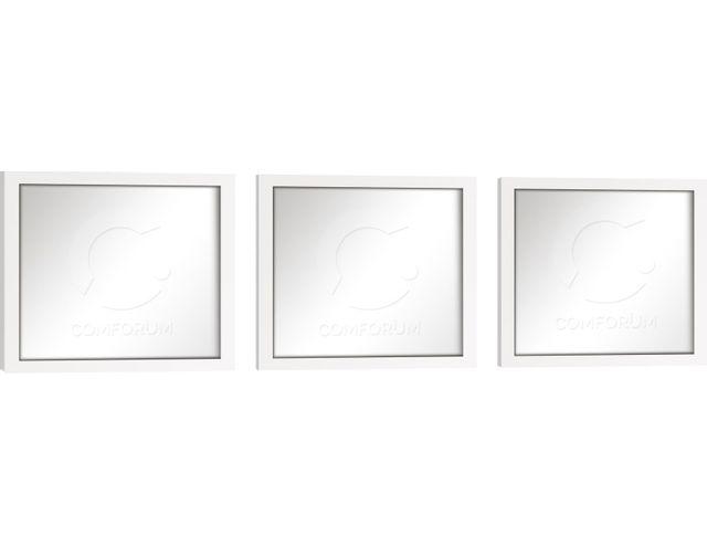Comforium Lot de 3 miroirs muraux design carré coloris blanc laqué