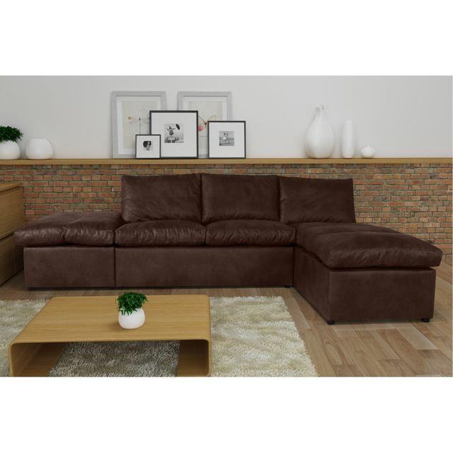 Rocambolesk Canapé d'angle Avanti Flexi L2P tobago 14 brun sofa divan
