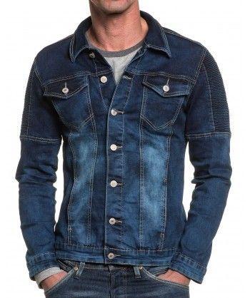 BLZ Jeans - Veste en jean bleu délavé bande relief homme - pas cher ... 2859157fdade