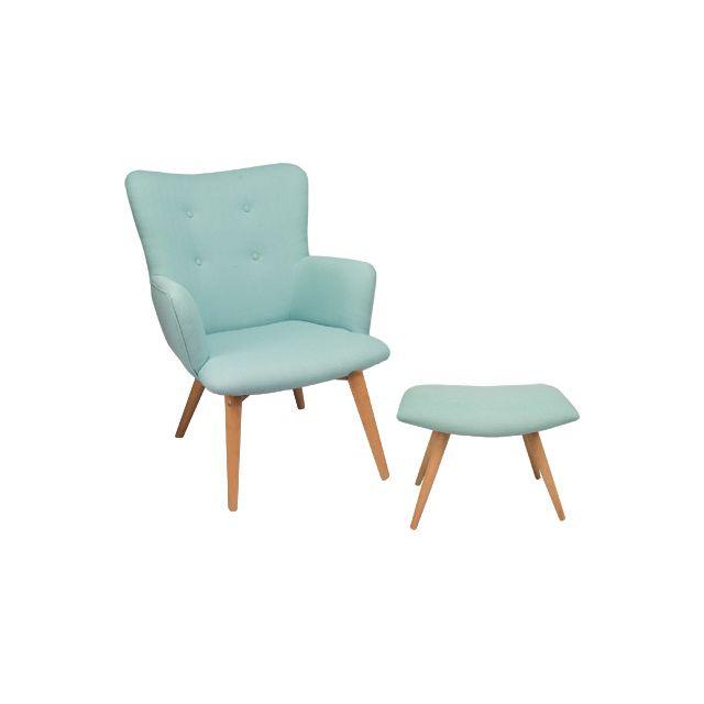 Sofa et repose-pieds coloris bleu - Baltic