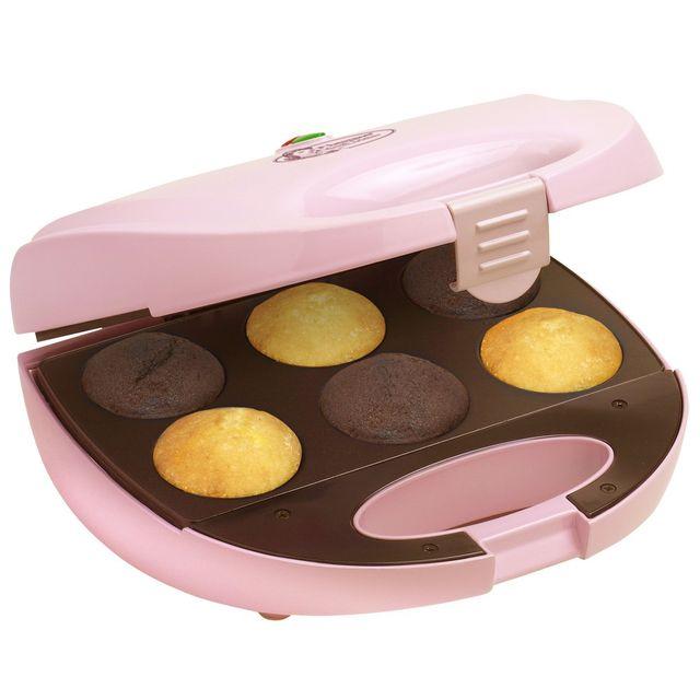 BESTRON Appareil à cupcake compact: petit gâteau à la mode et muffins - 750W - Rose clair