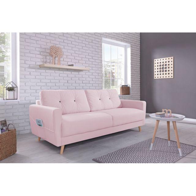 bobochic oslo canap 3 places rose poudr 210cm x 86cm x 90cm achat vente canap s pas. Black Bedroom Furniture Sets. Home Design Ideas