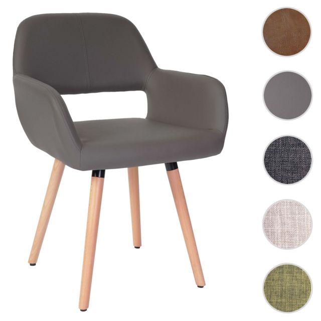 Mendler Chaise de salle à manger Hwc-a50 Ii, fauteuil, design rétro des années 50 ~ similicuir, gris