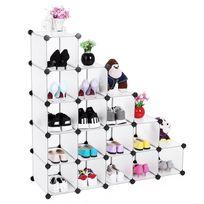 Rocambolesk - Superbe Armoire/Etagère de rangement à chaussures en plastique Blanche semi-transparente 4 x 4 Cubes 92,5 x 37 x 92,5 cm L x l x h, Lpc44S neuf
