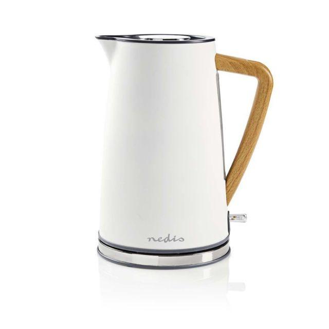Nedis Bouilloire Électrique 1,7 L Blanc 2200W Doux au toucher Indicateur de niveau d'eau Finition Soft-Toucher Filtre anti-tar