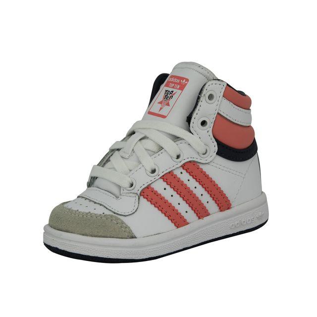 big sale 85d1b 4db84 Adidas originals - Top Ten Hi Chaussures Mode Sneakers Enfant Cuir Blanc  Rose - pas cher Achat  Vente Baskets enfant - RueDuCommerce