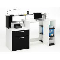 Habitat et Jardin - Bureau Oracle - Mdf blanc perle/noir - 1 tiroir et 1 porte