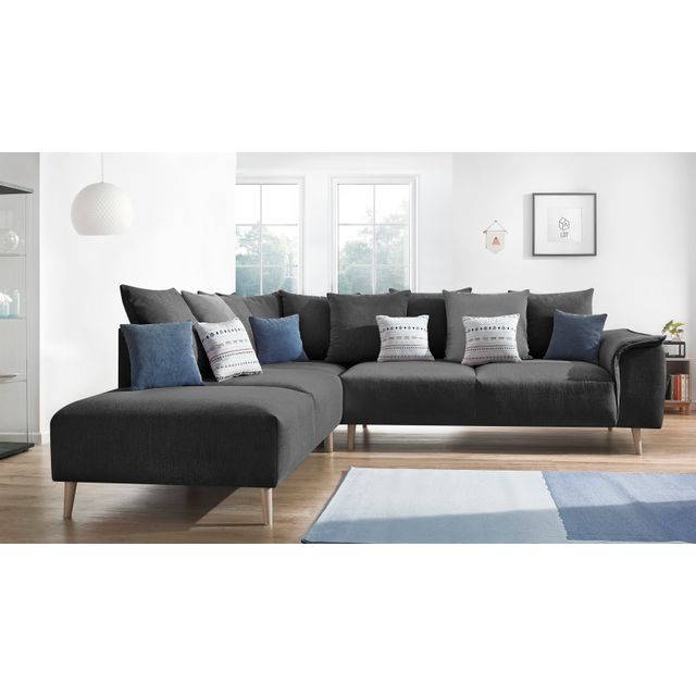 BOBOCHIC Canapé d'angle LONDON - 6 places - Fixe - Angle gauche - Gris Anthracite