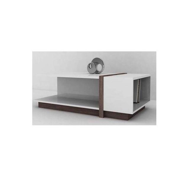 CHLOE DESIGN Meuble tv design Soca - blanc et bois foncé