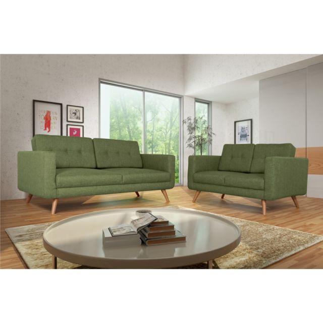 Rocambolesk Canapé Hedvig 3+2 savana vert 08 pieds naturels sofa divan