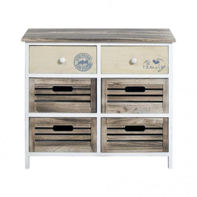 Mobili rebecca commode meuble de rangement 6 tiroirs bois for Commode cuisine bois