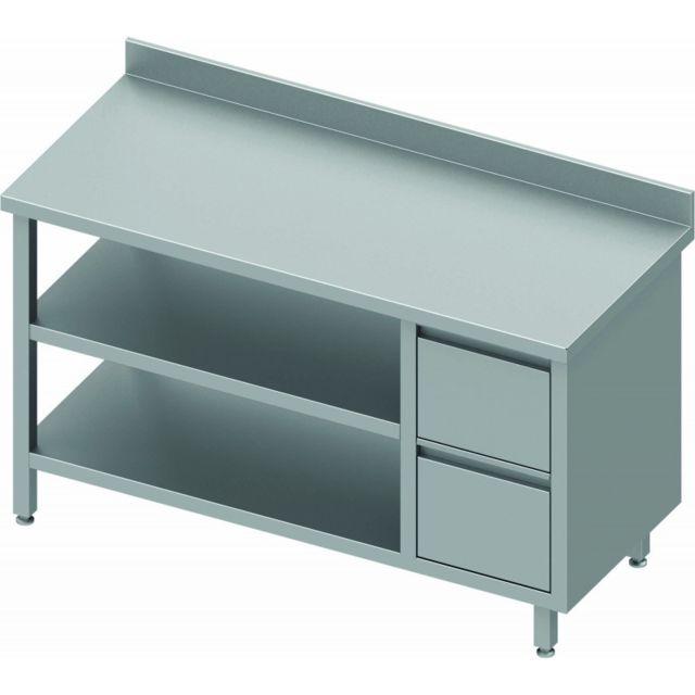 Materiel Chr Pro Table Inox Adossée Professionnelle - 2 Tiroirs Droite & 2 Etagères - Gamme 800 - Stalgast - inox 800x800 800