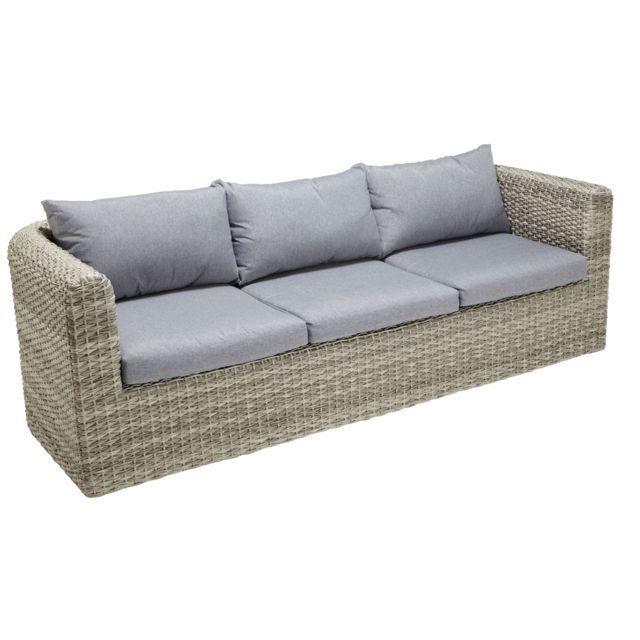 CARREFOUR - Canapé de jardin 3 places - Gris - pas cher ...