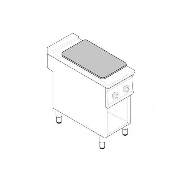 Materiel Chr Pro Fourneau Plaque Coup de Feu sur placard ouvert - 2 plaques - gamme 900 - module 400 - Tecnoinox - 900