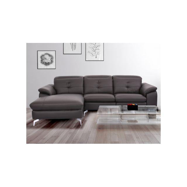 e9a7b4fd63cac9 MARQUE GENERIQUE - Canapé d angle relax électrique en cuir de buffle  LISMORE - Chocolat