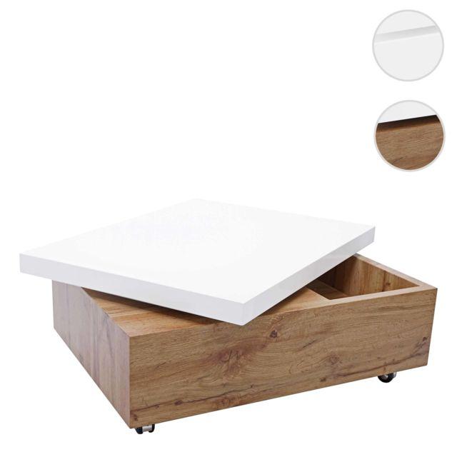 Mendler Table basse de salon Hwc-g82, 34x80x60cm, pivotante ~ blanc brillant, aspect chène