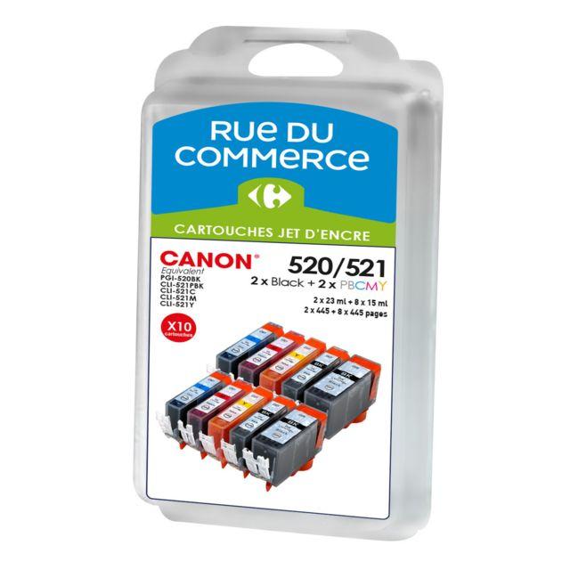 RUE DU COMMERCE Pack de 10 cartouches compatibles Canon PGI 520 / CLI 521 BK/C/M/Y/PHBK