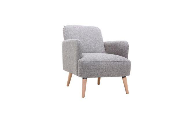 Miliboo Fauteuil design gris clair et pieds bois Isko