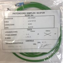 Avb - Crc 47S475 - 5 mètres Câble Fibre Optique 62.5/125 Sc/SC Simplex