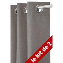 Le Linge De Jules - Lot de 2 Rideaux Unis 140x240 cm Anthracite