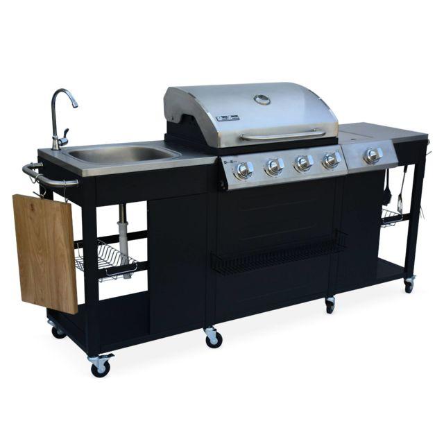 Barbecue Cuisine Exterieure Gaz D Artagnan Barbecue 4 Bruleurs 1 Feu Lateral Inox Et Noir Evier Planche A Decouper Bois Ustensiles