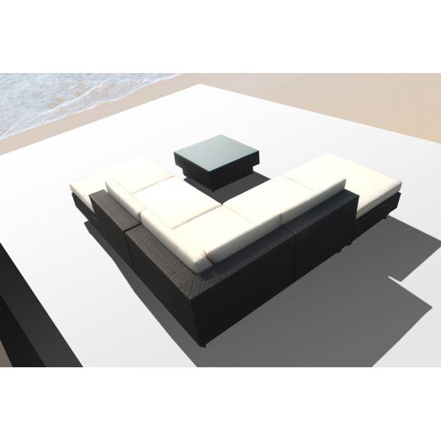Amorgos blanc : salon de jardin d\'angle en résine 4 fils tressée noire poly  rotin