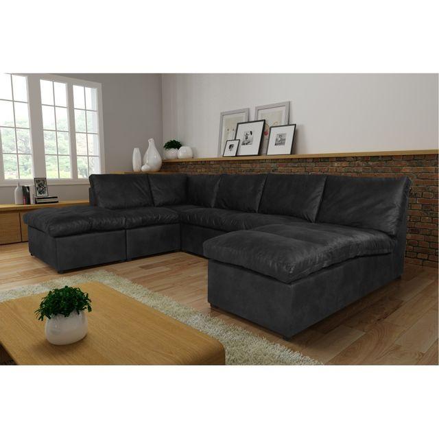 Rocambolesk Canapé d'angle Avanti Flexi L2A1P tobago gris anthracite sofa divan