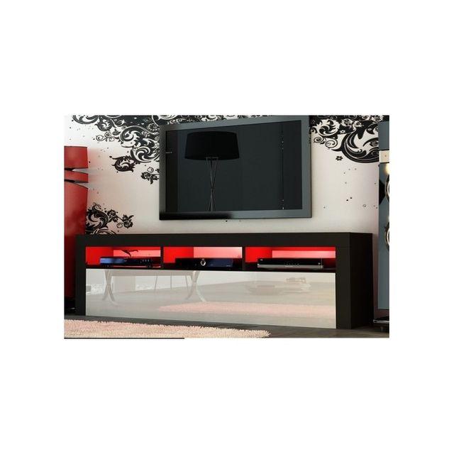 Mpc Meuble tv 160 cm noir mat et façades laquées blanc avec Led
