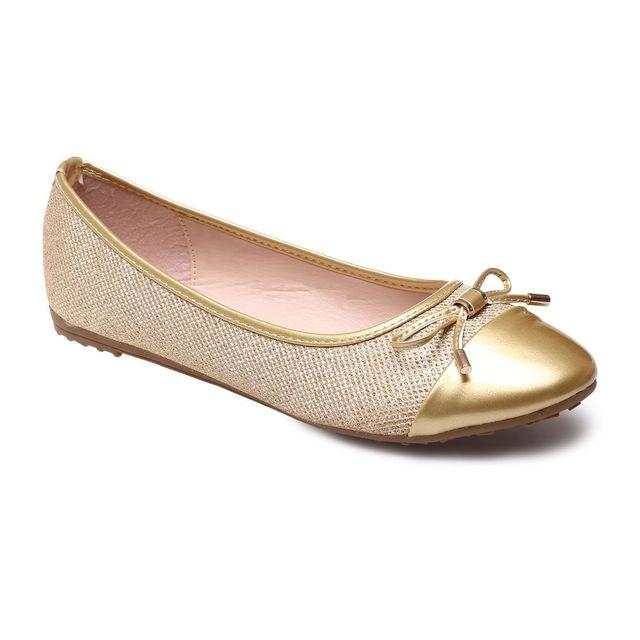 95904c9658bd0e Lamodeuse - Ballerines dorées grande taille en tissu pailleté - pas ...