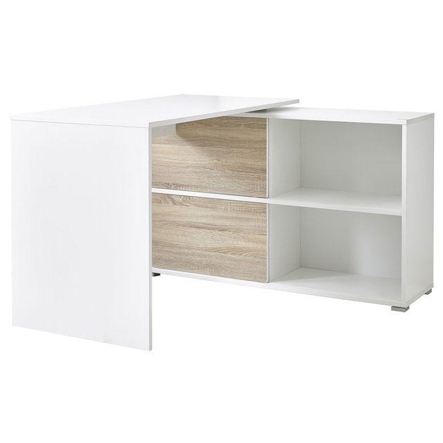 Bureau design en bois avec portes coulissantes L120 cm SLIDE - Blanc/Chêne