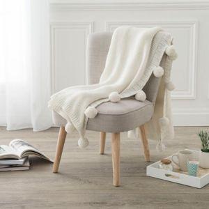 Atmosphera - Plaid Folk 125 x 150 cm blanc