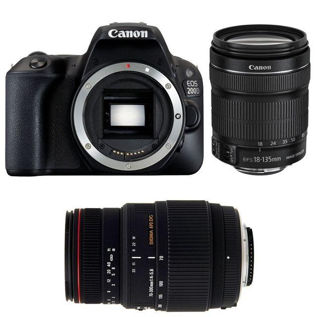 Canon Eos 200D + Ef-s 18-135 f/3.5-5.6 Is Stm + Sigma 70-300 F4-5.6 Dg Apo Macro Garanti 3 ans